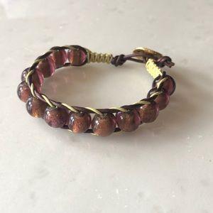 Jewelry - | nwot | Burgundy Glass Bead Bracelet